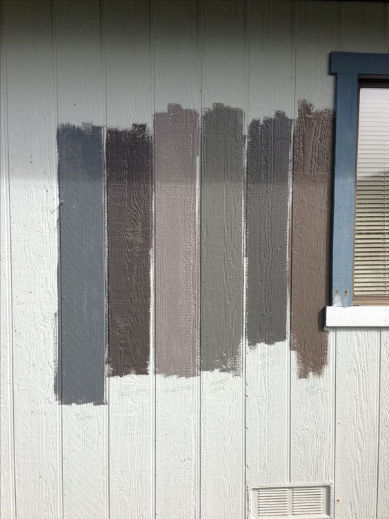Left to right: gun metal, iron mountain, granite, Amherst gray, Kendall charcoal, Bear creek. Benjamin Moore.