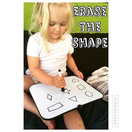 Erase the Shape! {We are camping and this is just a simple game that we have been playing in the car and tent while Nolan naps!} {I draw a bunch of shapes and tell her what shape to erase:) } #toddlerlife #playtime #toddlerbusytime #busytime #shapes #todderplay #toddlerfun #toddleractivity #toddleractivities #toddlerlearning