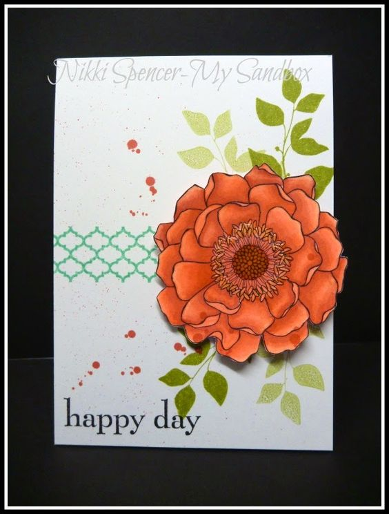 """handmade card from My Sandbox ... luv how she """"layered"""" the Blended Bloom image using Blendabilities markers in Calypso Coral ... like the splatters too ... Stampin'Up!"""
