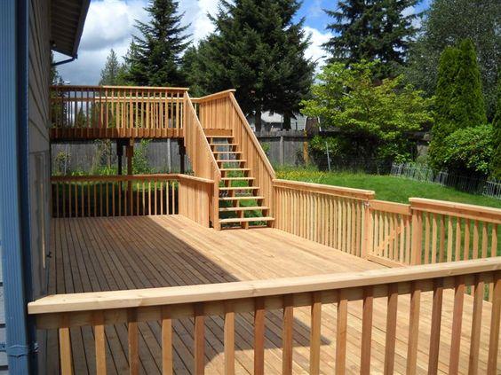 Two story deck custom decks and decks on pinterest for Custom deck ideas