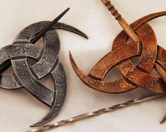 Cornes d'Odin cuir cheveux Barrette, Viking, Pirate, SCA, LARP