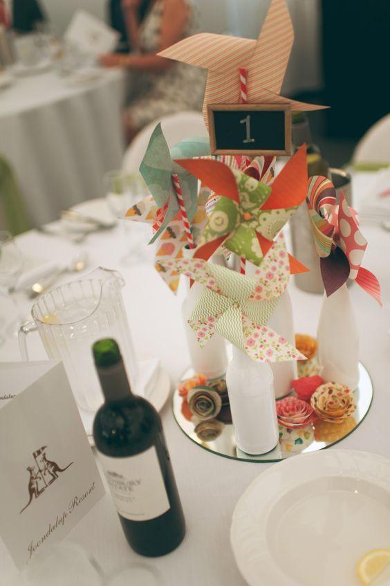Pinwheel wedding centrepiece