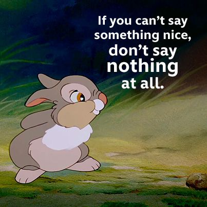 "The voice in my son's head is me saying, ""If you can't say something nice, don't say anything at all."""