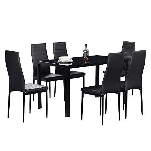 Mandycng Neo Modern Dining Room Set Rectangular Glass Table