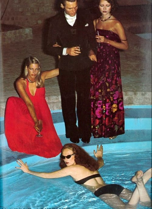 Vintage Grace Coddington, Poolside Chic by Helmut Newton  Vogue UK Circa 1973