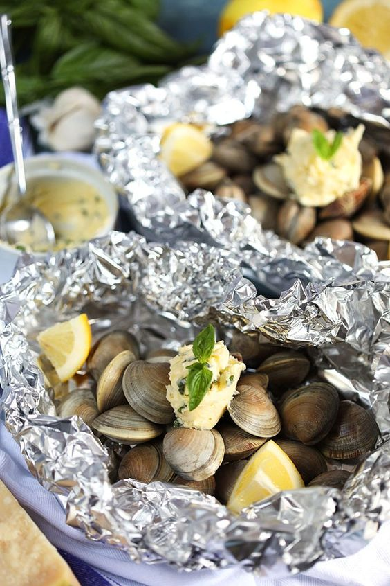 Grilled Clams With Garlic Parmesan Basil Butter Recipe