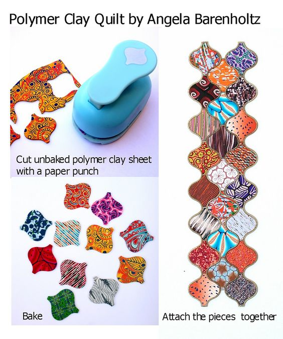 Technique by Angela Barenholtz polymer clay, paper punch