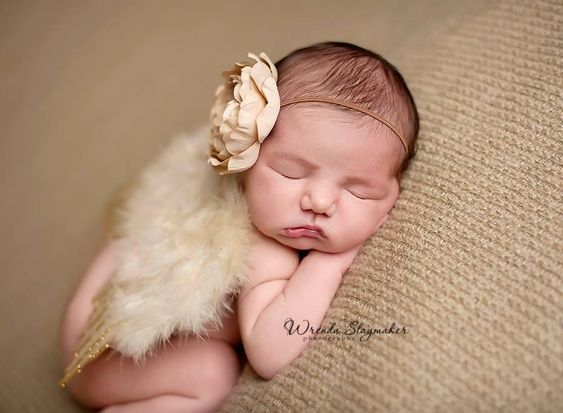 Gold Glitter Feather Wings Newborn Baby Photo Prop - Beautiful Photo Props