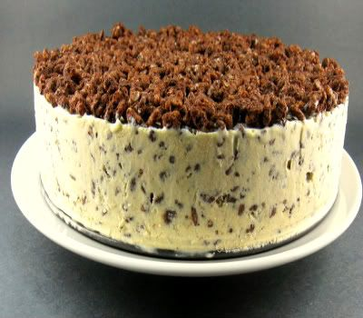 Icecream Crunch Cake - Ingredients:  1 (12-oz.) package semisweet chocolate chips - 2/3 cup smooth peanut butter-6 Cups crispy rice cereal=1 gallon vanilla ice cream