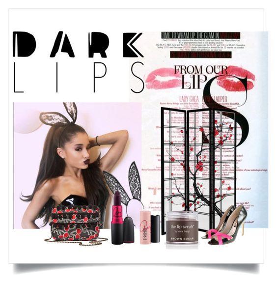 """#darklips"" by dreday111 ❤ liked on Polyvore featuring beauty, MAC Cosmetics, M.A.C, Sara Happ, Rupert Sanderson, Fleur du Mal and TWIG & ARROW"