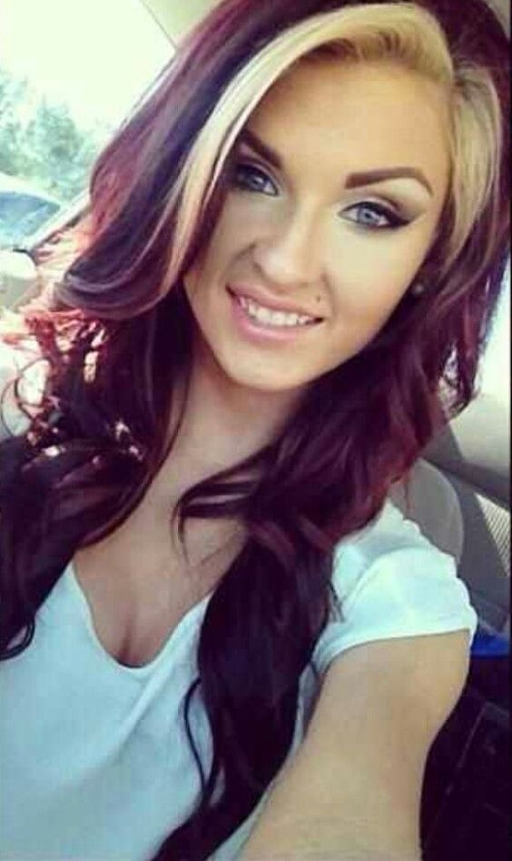 Dark Hair Colours Blond Highlights And Auburn Red On