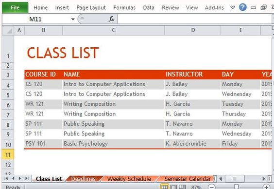 List Your Classes For A Particular Semester And Plan Ahead Class   Class  Roster Template