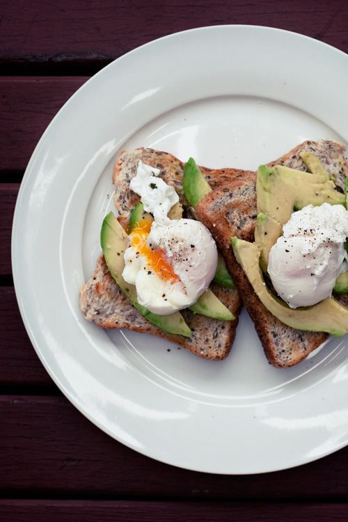 breakfast toast, avacados and poached egg
