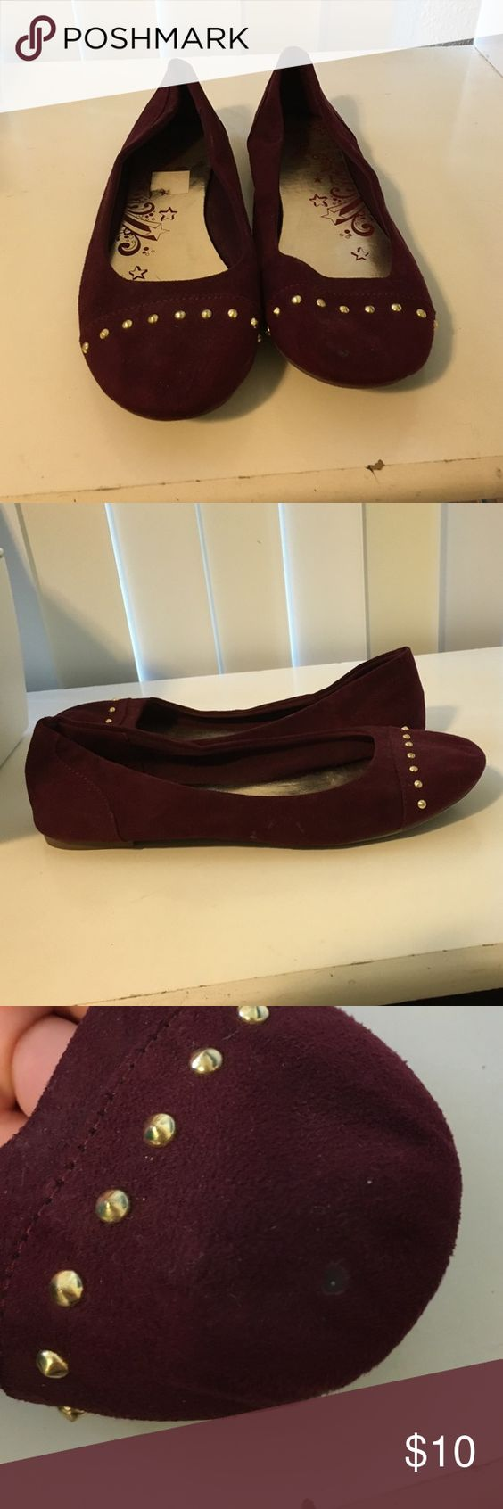 Burgundy Burgundy studded flats. Worn. A little misshaped when off from being stored but not when on. Shoes Flats & Loafers