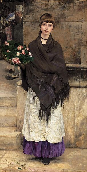 Flower Seller in London, 1882, oil on canvas by Jules Bastien Lepage, French, 1848-1884.