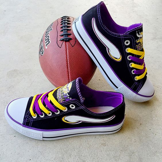 Minnesota Vikings Converse Style Sneakers - http://cutesportsfan.com/minnesota-vikings-designed-sneakers/