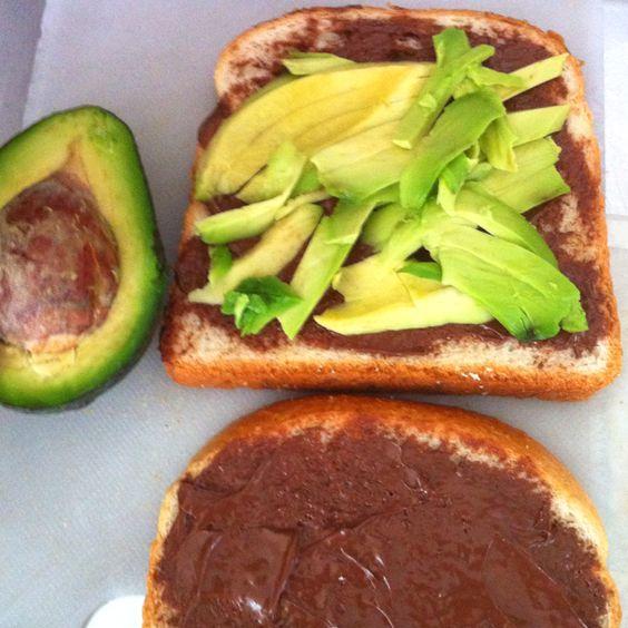 Nutella and avocado sandwich