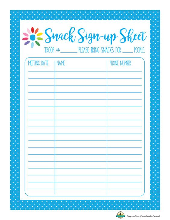 Instant download daisy girl scout snack sign up sheet for Girl scout calendar template