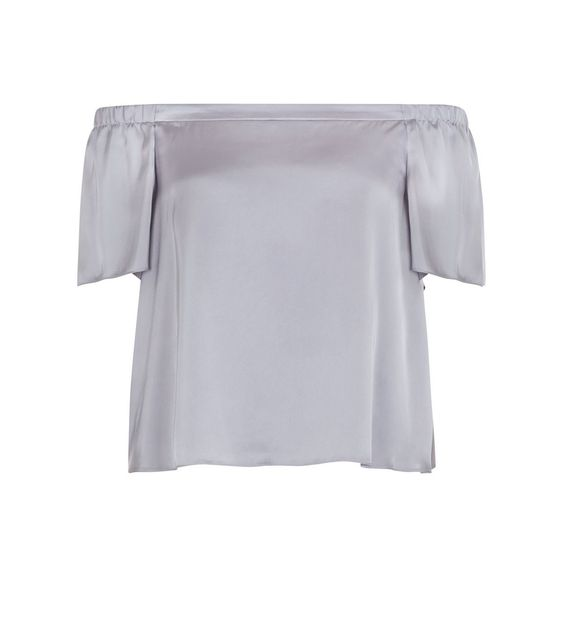 Petite Silver Sateen Bardot Neck Top | New Look