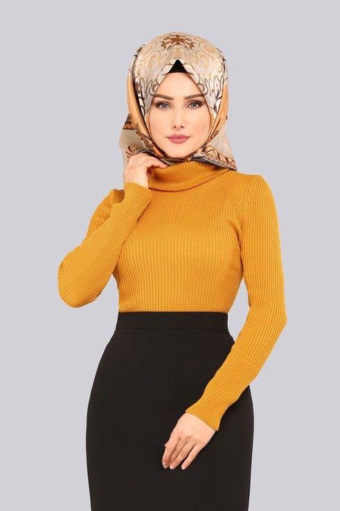Modaselvim Tunik Bogazli Triko Kazak 3135af356 Hardal Moda Stilleri Trend Elbiseler Guzel Turban