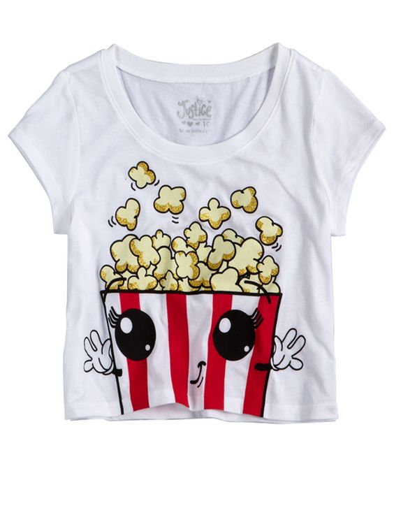 Girls Clothing | Crops | Popcorn Crop Tee | I usually HATE justice but this is really cute!