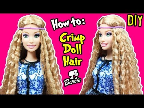 How To Crimp Barbie Doll Hair DIY Barbie Hairstyles Tutorial - Doll hairstyles barbie