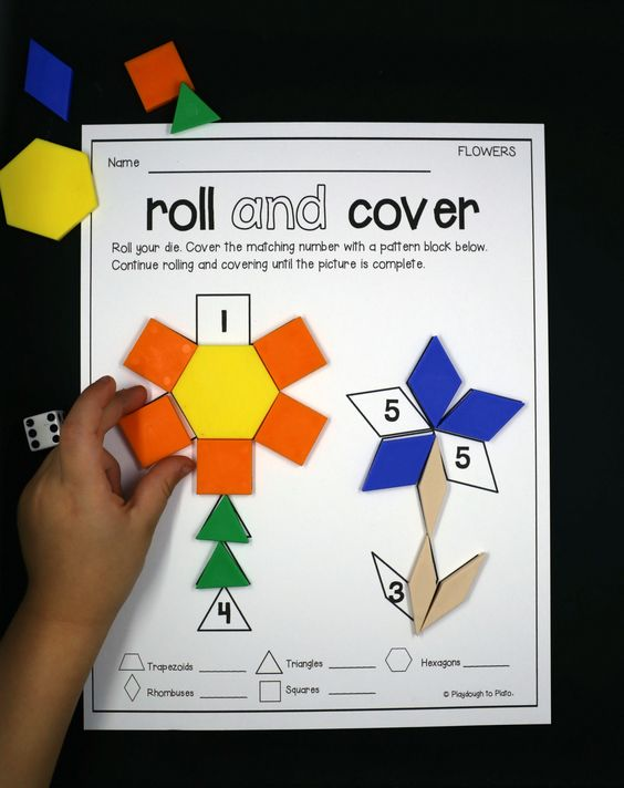 Activity for ages 4 to 7. Pattern blocks are a motivating, hands-on way to teach kids about shapes, patterns, measurement…. even fractions! These playful roll and cover pattern block mats add three more math skills to the list: counting, number recognition, and addition. They're the perfect preview to our roll and cover pattern block mat pack! This post …: