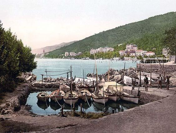 Opatija  Abbazia, small harbor, Istria, Austro-Hungary. This color photochrome print was taken between 1890 and 1900 in Istria, Austro-Hungary.