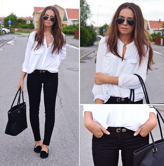 Lindex White Shirt, H Black Jeans, H Tote Bag, Thailand Belt, Gina ...