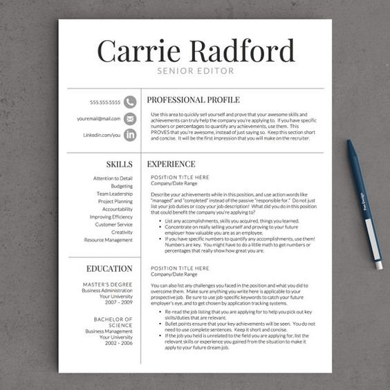 Resume Template Professional Resume Template CV Template for