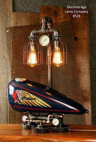 Cool Steampunk Tank Lamp Vintage C Chief Motorcycle Gas Tank With Unusual  Desk Lamps.