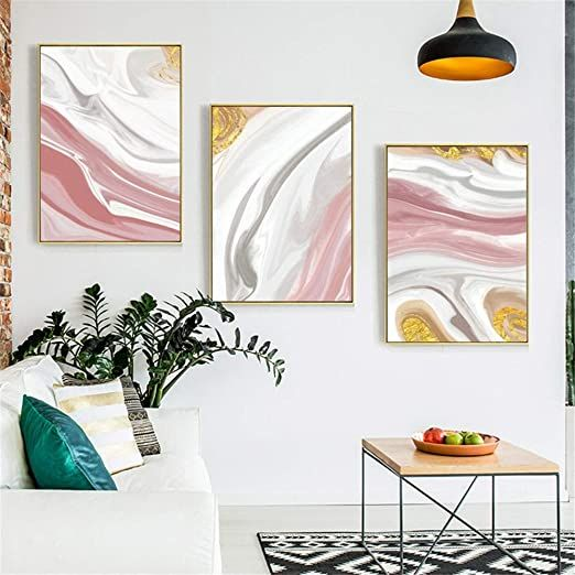 Yuybei Canvas Wall Art Abstract Watercolor Art Print 3 Pieces Framed Canvas Pictures Read Living Room Oil Painting Artwork For Living Room Wall Art Living Room Living room wall framed pictures