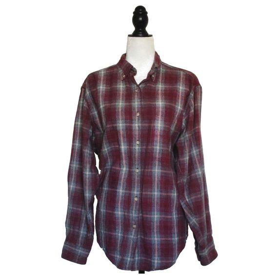 LL BEAN Red Plaid Long Sleeve Button Up Vintage Cotton Shirt Womens Sz Large  #LLBean #Plaid #Grunge