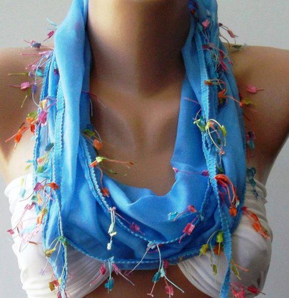 Blue  Elegance Shawl / ScarfTurkish Shawl by womann on Etsy, $12.90