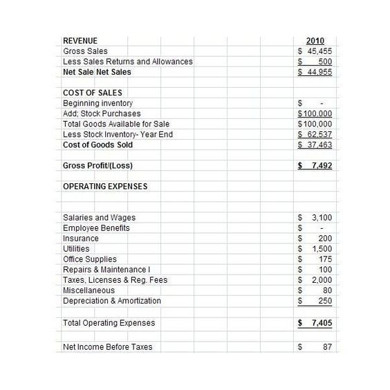 Small Business Income Statement Template Elegant Free Downloadable