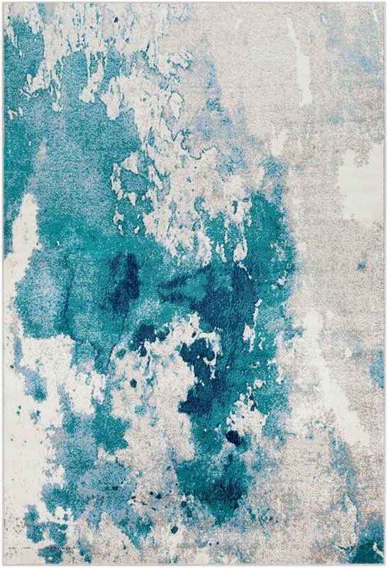 Ramsay Abstract Teal Light Gray Area Rug Abstract Rug Area Rugs
