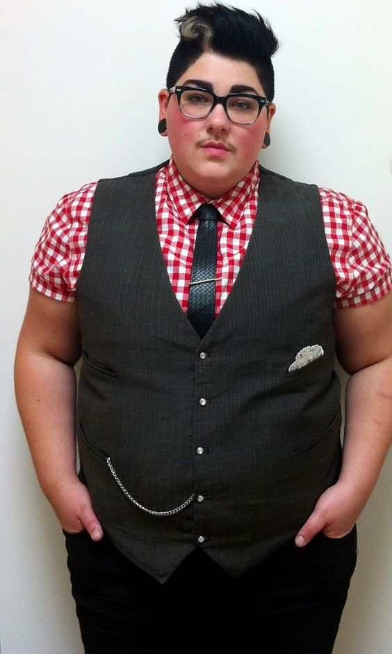 """Ask DapperQ: Curvy Androgyny? """"Coats, vests, and blazers can either accentuate or conceal curves, depending on your preference."""":"""