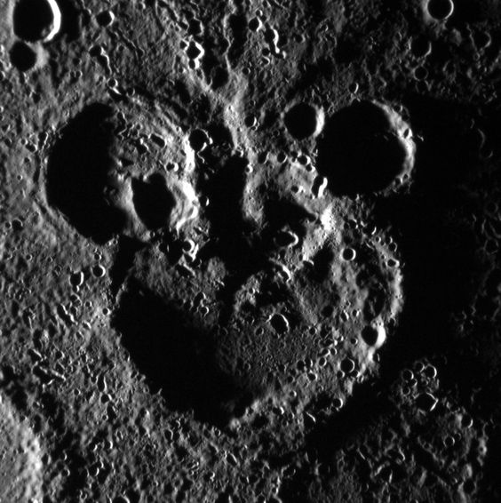 NASA spacecraft MESSENGER captured a photo of Mercury craters arranged in a shape that looks just like Mickey Mouse