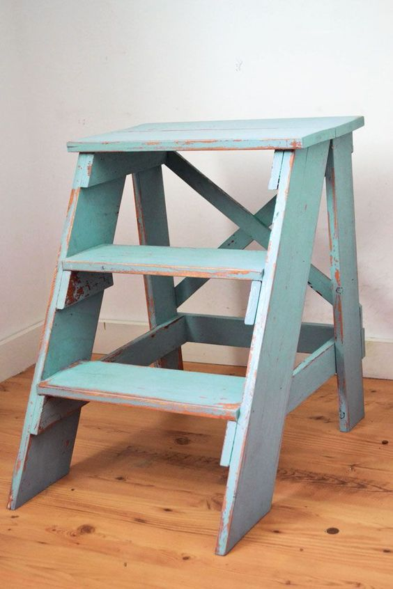 vintage farmhouse style step stool distressed paint stain blue turquoise finish how to build. Black Bedroom Furniture Sets. Home Design Ideas