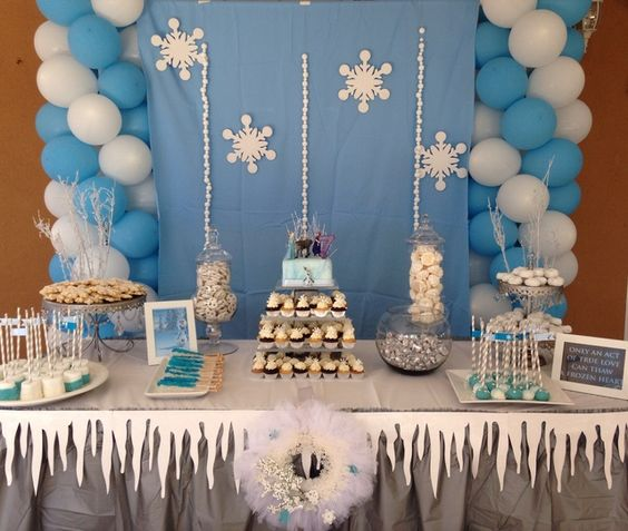 Disney Frozen Birthday Party Ideas | Photo 3 of 17 ... ha Our cupcake ideas's cool but this table is AWESOME! so want this... we'll try! lol