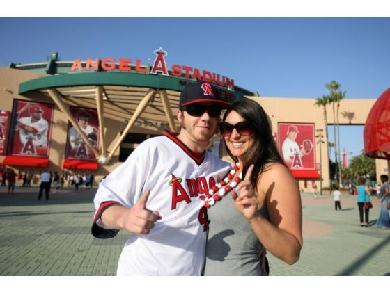 Angel fans Jimmy Colvin and Kim Sapone pose before the game against the Chicago White Sox at Angel Stadium in Anaheim on Wednesday, May 16, 2012.