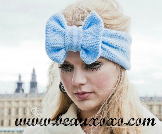 Knitted Bow Headband Oversized Bow Cute Cosy Kawaii by beauxoxo, £9.00