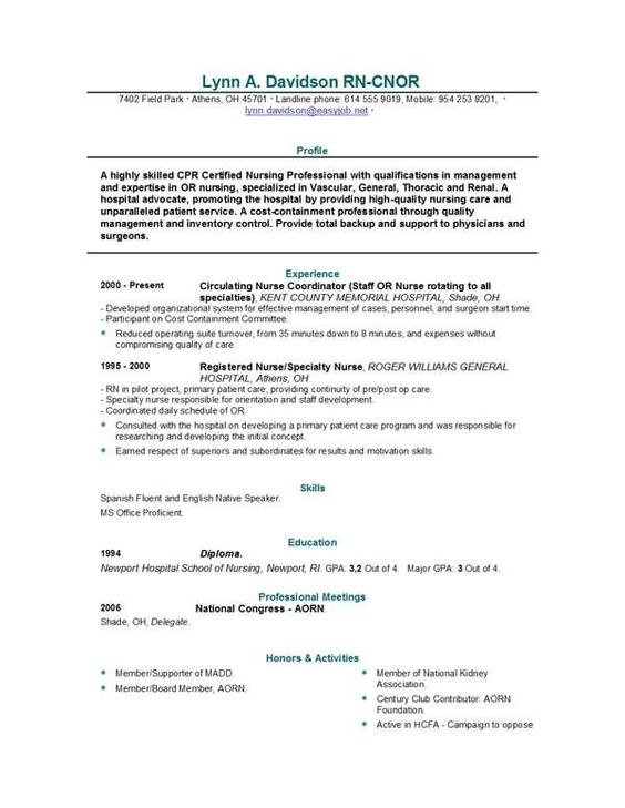 New Grad Nursing Resume. Entry Level Nurse Resume Template Free