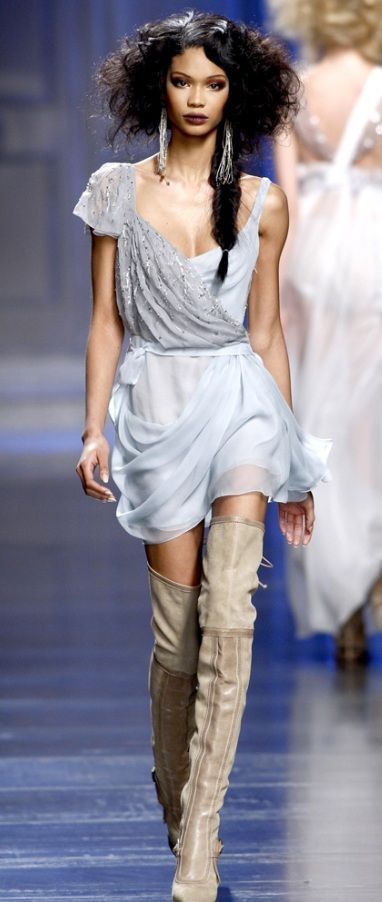 Dior - Powder blue dress and Beige Suede and beige thigh-hi boots! LBV