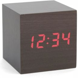 Gadget Darkwood Clap-On Cube Alarm Clock