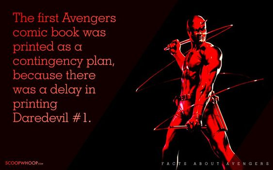 The first Avenger comic book was printed as a contingency plan, because there was a delay in printing Daredevil #1.