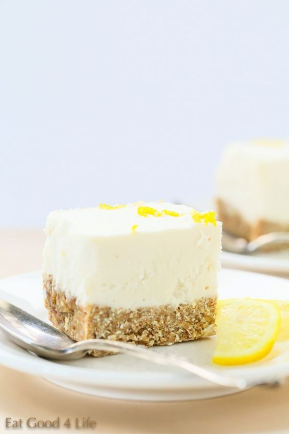 Gluten free vegan no bake lemon cheesecake. Super refreshing and light. From Eat Good 4 Life.