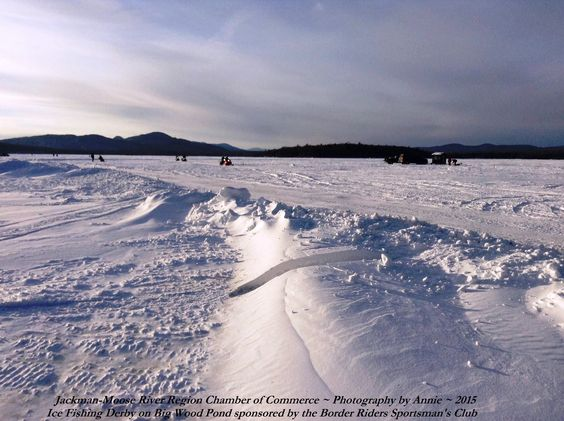 A beautiful ice fishing day on big wood pond in jackman for Ice fishing maine