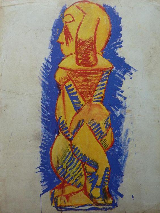 """Pablo Picasso """"Nu debout de profil"""" 1907"""