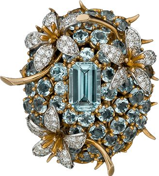 Aquamarine diamond clip in yellow gold by Jean Schlumberger; c. 1965.